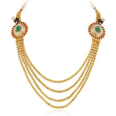 Sukkhi Youthful Peacock Gold Plated Necklace Set - Golden - 2161NGLDPV3000