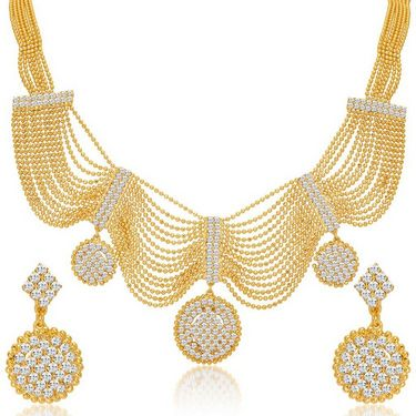 Sukkhi Splendid & Fine Gold Plated Necklace Set - Golden - 2168NADV2000