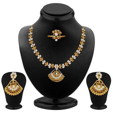 Sukkhi Pleasing Gold Plated Necklace Set - White & Golden - 1005N-SMR-WT-LCT-1000