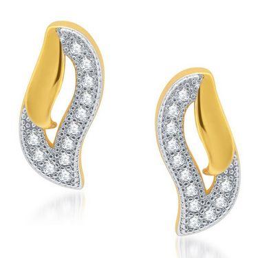 Sukkhi Ravishing Gold and Rhodium Plated Earrings - Golden & White - 180EARSDPVTS350