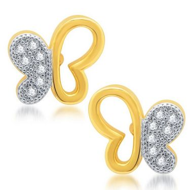 Sukkhi Pretty Gold and Rhodium Plated Earrings - Golden & White - 181EARSDPVTS300