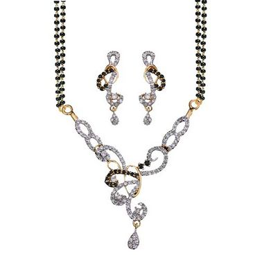 Sukkhi Gold and Rhodium plated CZ Mangal Sutra with Earrings - CZ MPS Set 102G2600