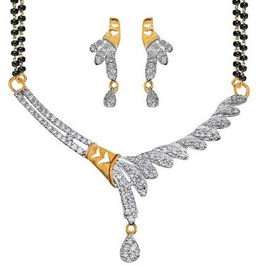 Sukkhi Gold and Rhodium plated CZ Mangal Sutra with Earrings - CZ MPS Set 105G2000