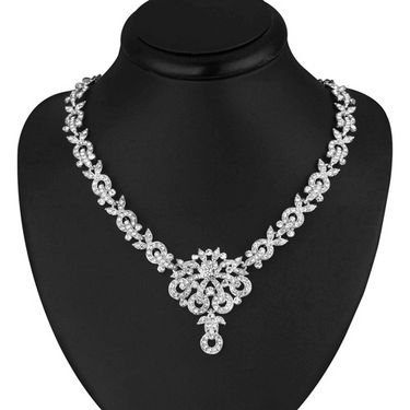 Sukkhi Classy Rhodium Plated AD Stone Necklace Set