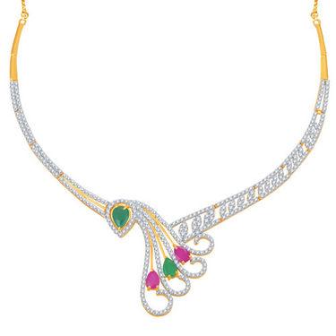 Sukkhi Estonish Ruby and Emerald Studded Gold and Rhodium Plated CZ Necklace Set