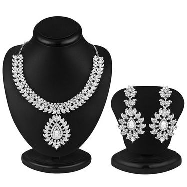 Sukkhi IncRedible Rhodium Plated AD Stone Necklace Set - 1022V
