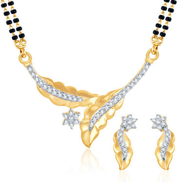 Sukkhi Gold Finished Mangalsutra Set - White & Golden - 132M900