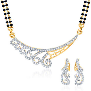 Sukkhi Gold Finished Mangalsutra Set - White & Golden - 135M1500