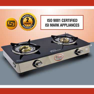 SuperChef Glass Top 2 Burner Gas Stove