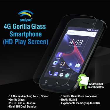 Swipe 4G Gorilla Glass Smarphone (HD Play Screen)