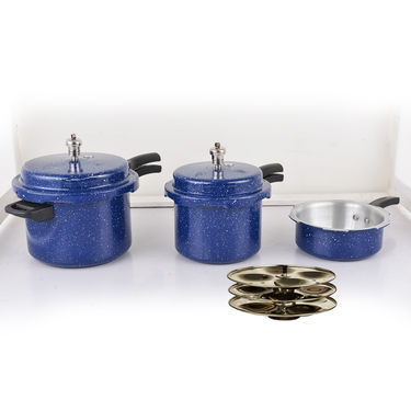 TBD 2+3+5 Ltr ISI Certified Colour Pressure Cooker Combo with Idli Stand