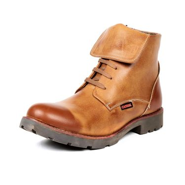 Ten Synthetic Leather Tan Boots -ts168