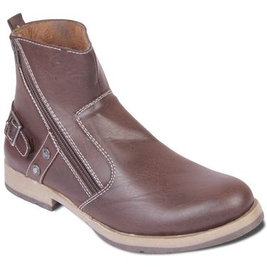 Faux Leather Brown Boots -T09