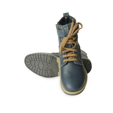 Faux Leather Blue Boots -T06