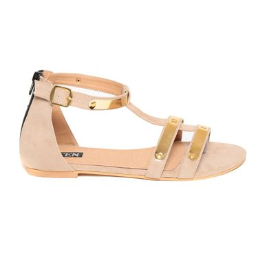 Suede Leather Beige Sandals -12Beg02