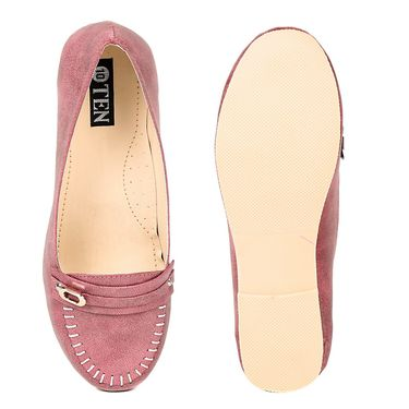 Ten Synthetic Leather Peach Loafers -ts301