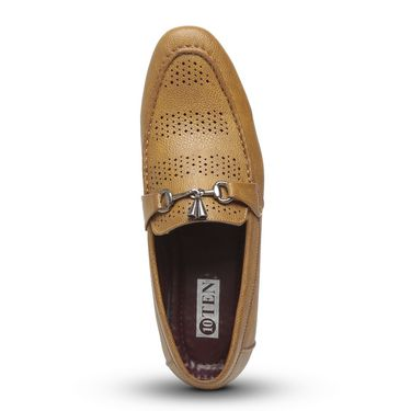 Ten Tan Synthetic Leather Loafers -mtj25