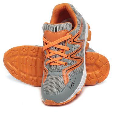Ten Grey & Orange Mesh Sports Shoes -mtj10