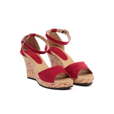 Ten Suade Leather 278 Women's Wedges and Platforms - Red