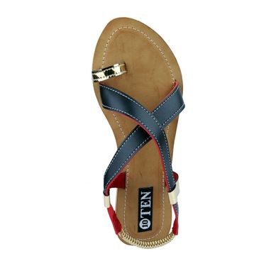 Ten Artificial Leather Black & Beige Sandals -ts22