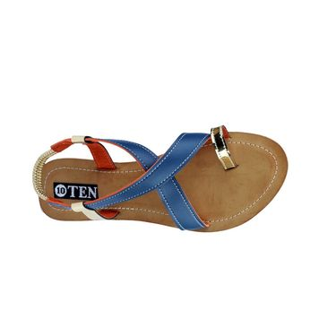 Ten Artificial Leather Blue & Beige Sandals -ts23