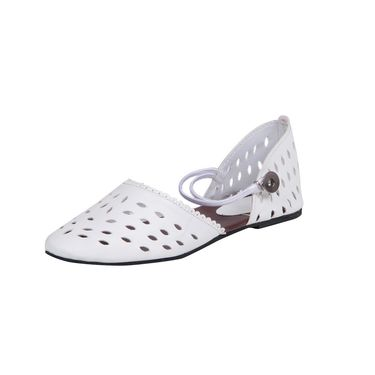 Ten Synthetic Leather White Sandals -ts91