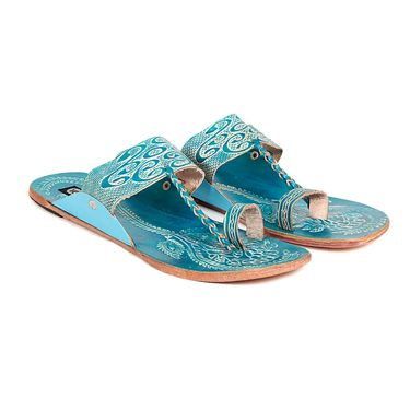 Womens Ethnic Slippers tj27 -Turquoise