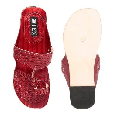 Womens Ethnic Slippers tj25 -Maroon & Cherry