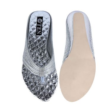 Ten Synthetic Silver Flats & Slippers -ts49
