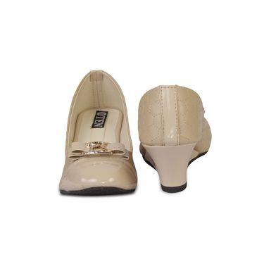 Ten Artificial Leather Beige Wedges -ts56
