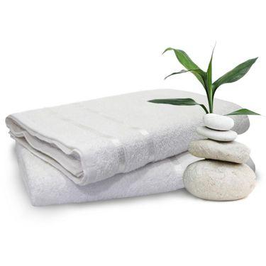 Story@Home Set of 2 Pcs Bath Towel 100% Cotton-White-TW1201-2X