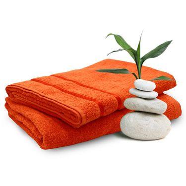 Story@Home Set of 2 Pcs Bath Towel 100% Cotton-Orange-TW1205-2X