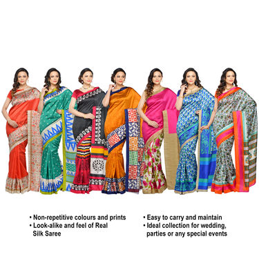 Tamanna Set of 7 Art Silk Sarees by Pakhi (7A10)