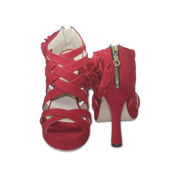 Ten Suede Leather Sandals  For Women_tenbl141 - Red