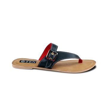 Ten Faux Leather Sandals  For Women_tenbl190 - Black