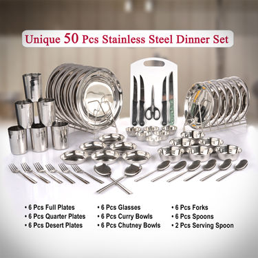 Unique 50 Pcs Stainless Steel Dinner Set + Free Knife Set + Chopping Board