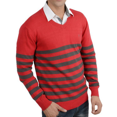 Branded Regular Fit Cotton Sweater_Os08 - Red Grey
