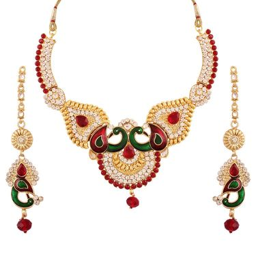 Variation Mayur Designer Multi Color Enamel Necklace Set_Vd11035