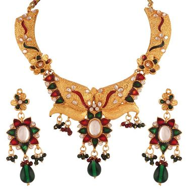 Variation Maroon & Green Enamel Polki Kundan Necklace With Earrings_Vd13291