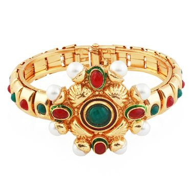 Variation Multicolor Pearl Studded Gold Plated Openable Bangle_Vd13758