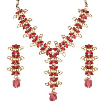 Variation Dark Pink Meenakari Floral Designer Necklace Set_Vd14002