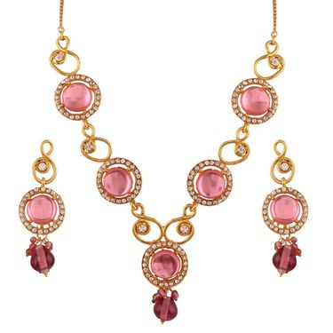 Variation Light Pink Statement Necklace Set_Vd14009