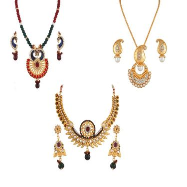 Combo of 2 Variation Necklace Sets + 1 Chain Pendent Set_Vd14031