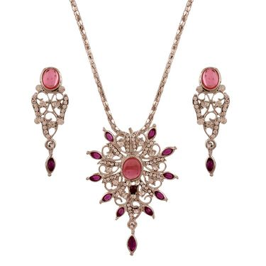Variation Pink & Purple Silver Plated Pendant Set With Chain_Vd14157