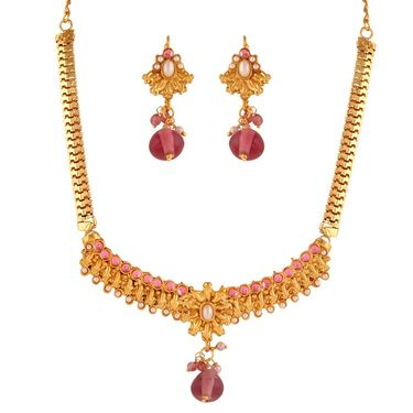 Variation Light Pink Small Necklace Set_Vd15383