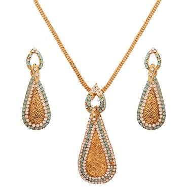 Variation Sky Blue Diamond Gold Plated Pendant Set_Vd15792