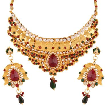 Variation Red & Green Gold Plated Necklace Set_Vd15910
