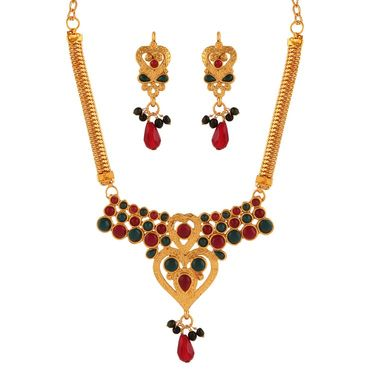 Variation Red & Green Stone Necklace Set_Vd15940