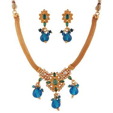 Variation Gold Plated Blue Semi Necklace Set_Vd15943