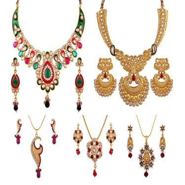 Combo of 2 Variation Necklace Sets + 3 Chain Pendent Sets_Vd15989
